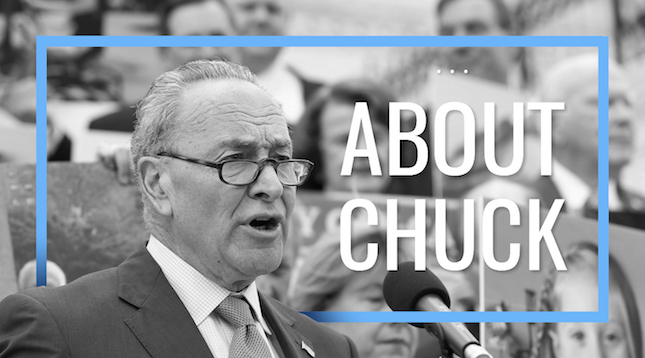 About Chuck -Photo of Chuck Schumer as a Senator speaking at a rally